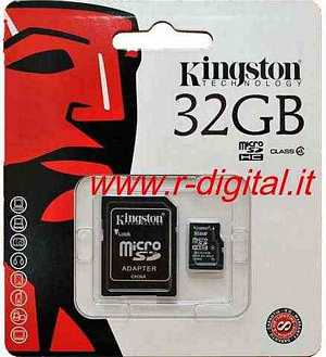 KINGSTON MICRO SD 32 GB C4 TRANSFLASH SCHEDA MEMORIA HC 32GB